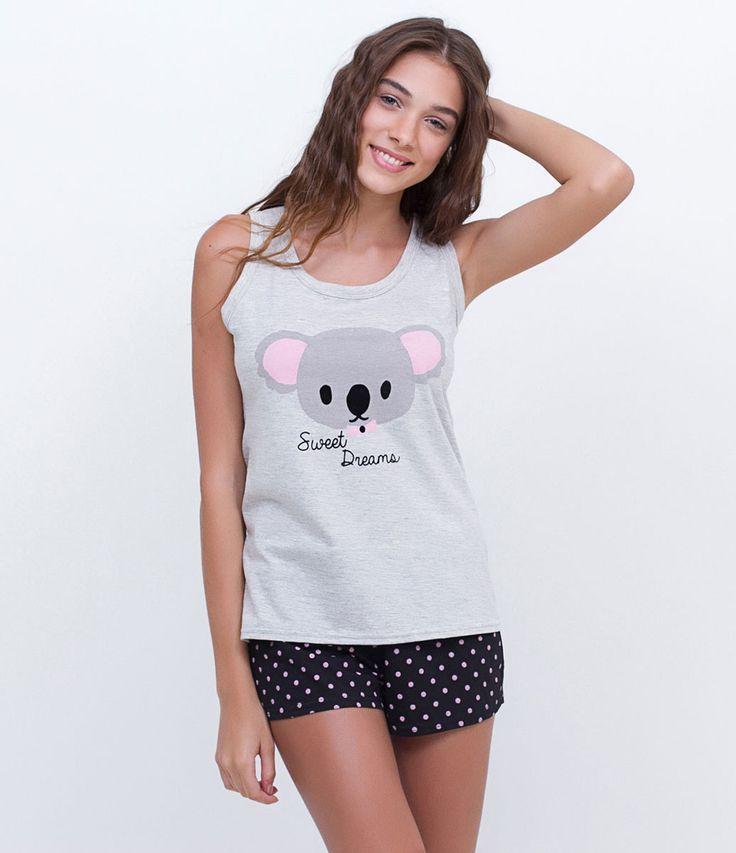 Pijama feminino  Sem mangas  Estampada  Short  Marca: Lov  Tecido: Meia malha  Modelo veste tamanho: P       COLEÇÃO INVERNO 2016     Veja outras opções de    pijamas femininos.