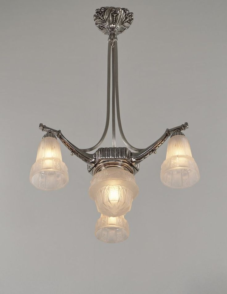 Lampe deco : Muller freres french art deco chandelier