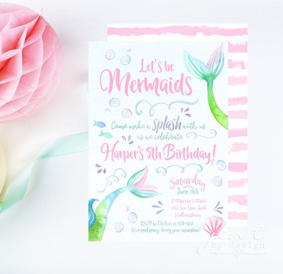Watercolor Mermaid Invitations