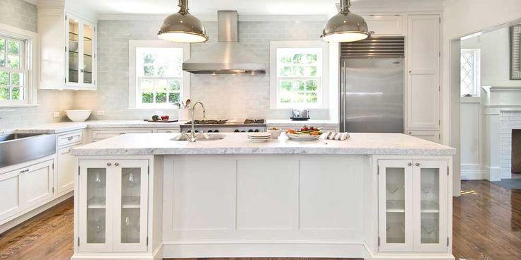 New York Modern Kitchen Design Ideas with white backsplash and white countertop