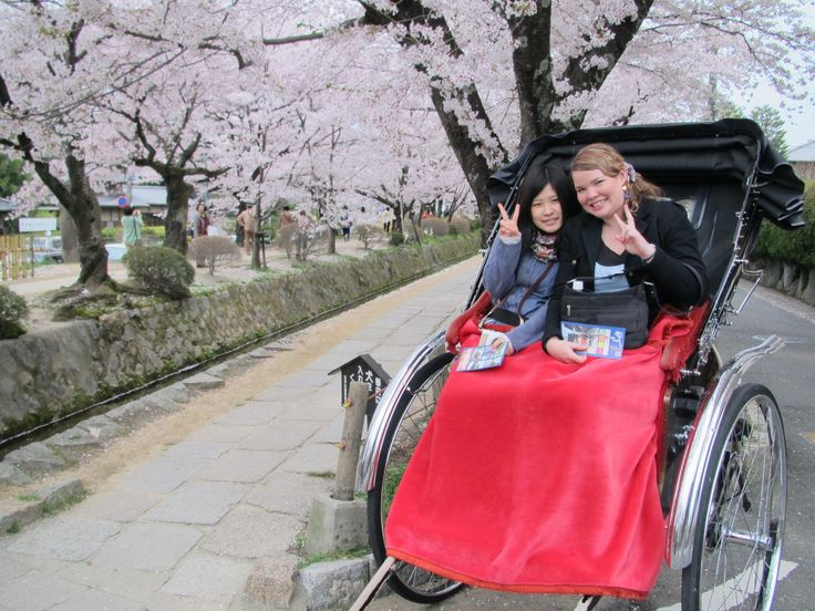 Kelsey Moore: This photo is a typical Japanese scene (taken in beautiful Kyoto), showing the beautiful cherry blossoms of the Spring, my Japanese friend and I enjoying a ride on a rickshaw, while taking in the beauty that surrounds us.