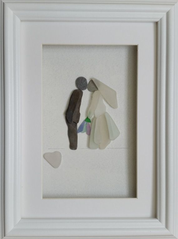 Pebble Art Picture Sea Glass Art Wedding Bride by CornishPebbleArt
