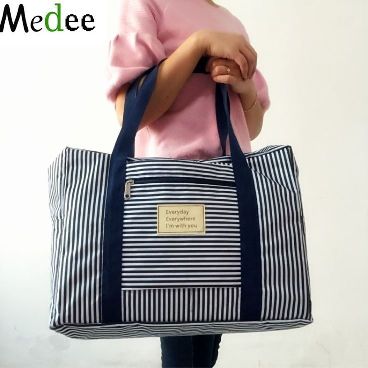 37 Off Medee 2017 New Fashion Waterproof Travel Bag Large Capacity Women Folding Men Luggage Handbags Striped Dot Tra001