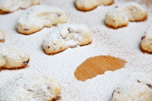 Almond Shortbread Cookies. Crispy on the outside and moist and buttery on the inside. Finished with a dusting of sweet powdered sugar.