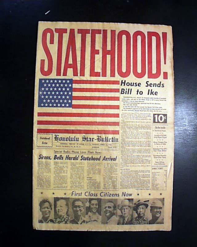 Hawaii statehood announced from Honolulu. HONOLULU STAR BULLETIN, Hawaii, March 12, 1959