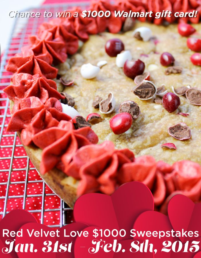 Thank you for joining us for such a heart-warming and delicious chat! We hope you're inspired to make a fun gift like Red Velvet Cookie Cake. BIG NEWS: Enter Red Velvet Love $1000 Sweepstakes for your chance to win a $1000 Walmart gift card! Enter and find rules here: https://www.facebook.com/SoFabChats?sk=app_396393053713168 Happy Valentine's Day! AD