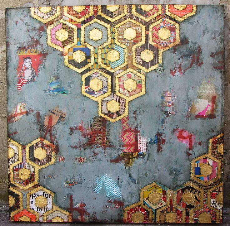 """The Normal"" by Jill Ricci | jillricci.com 2013, Mixed Media, Gold, Honeycomb"