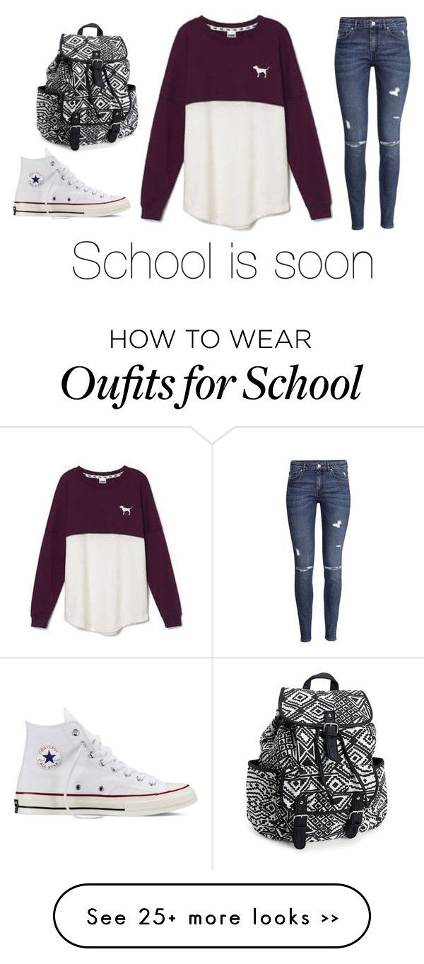 """School ugggggghhhhh"" by popcornlover1555 on Polyvore featuring Victoria's Secret, H&M, Converse and Aéropostale"
