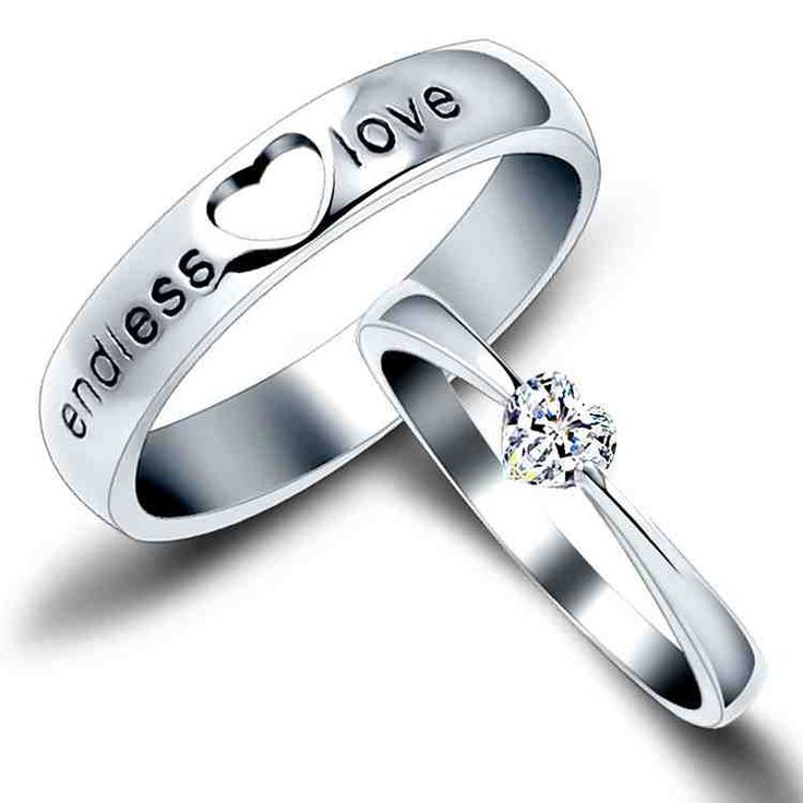 Cool Open Heart His and Hers Endless Love Wedding Bands Heart Cut CZ Matching Promise Rings for Couples