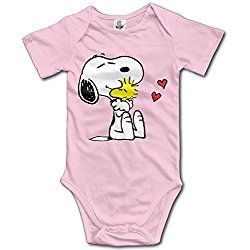 Ogbcom Baby's Snoopy Love Woodstock Hanging Bodysuit Romper Playsuit Outfits Clothes Climbing Clothes Short Sleeve Pink