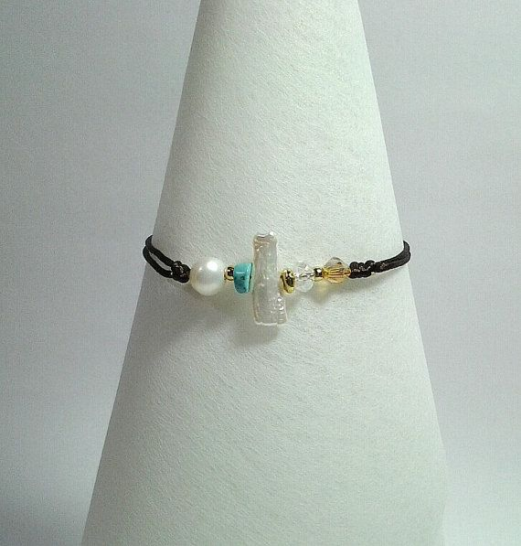 White Mother of Pearl bracelet  brown mouse tail by betsyarts, €8.00