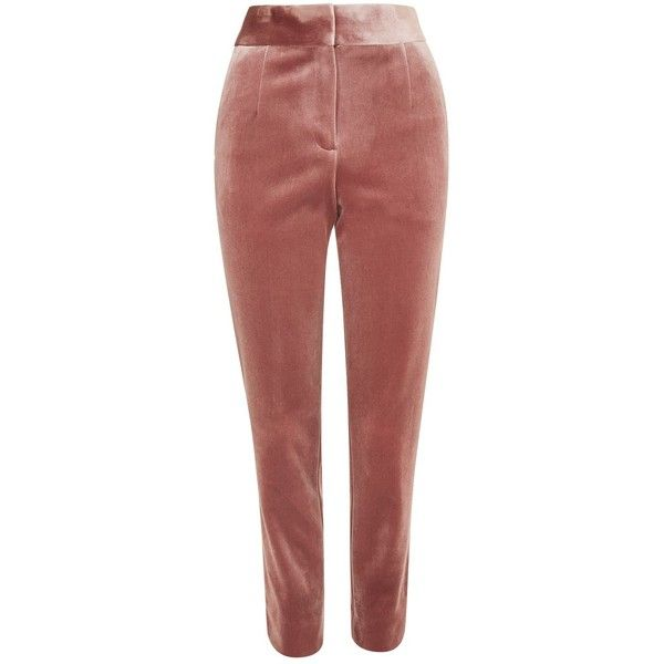 Topshop Tall Velvet Cigarette Trousers (180 PEN) ❤ liked on Polyvore featuring pants, topshop, trousers, light pink, cigarette trousers, red pants, red trousers, rose pants and retro pants