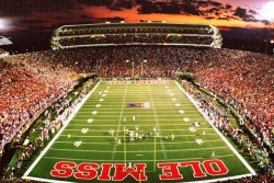 Vaught Hemingway Stadium in Oxford, Mississippi.  Better days are ahead for the Rebels.