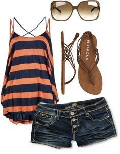 orange and Blue tank top with jean shorts, sandals, and sunglasses. Perfect for a hot summer day