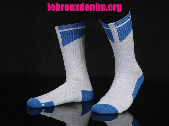 White Game Royal Jordan AJ Dri-Fit Crew Sock Mens [Lebron X Denim 265]