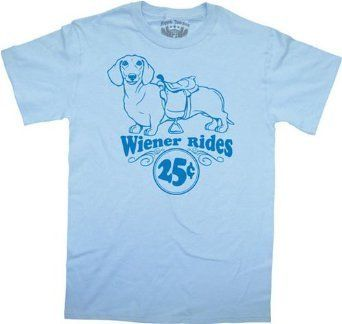 My Wiener Rides Funny Dachshund Dog Adult Light Blue Tee T-shirt Small