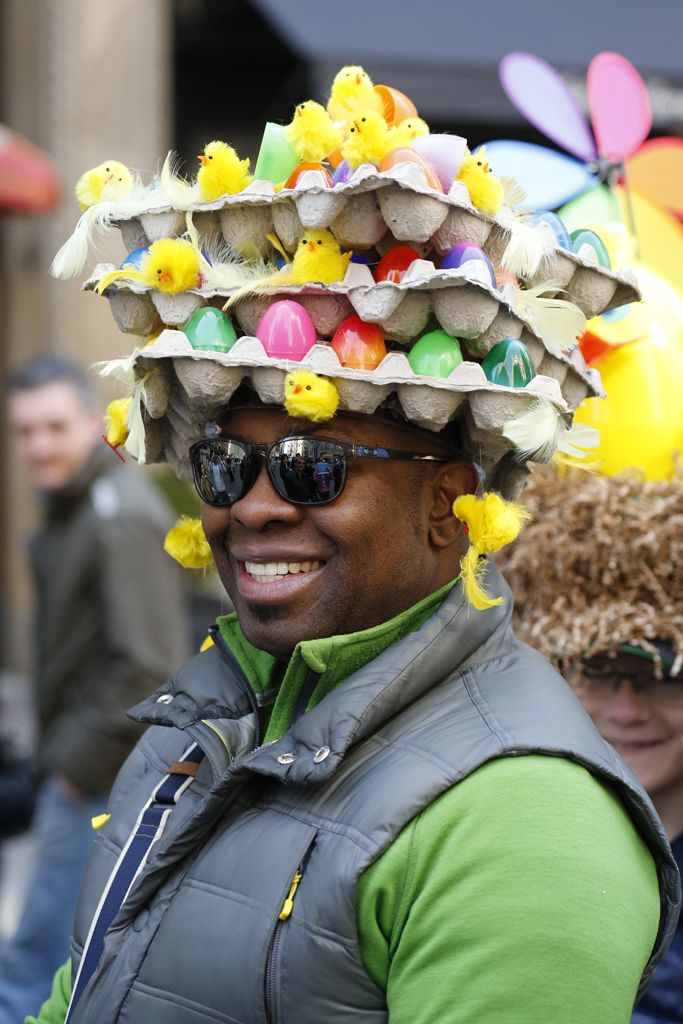 Eye-catching headwear along New York's Fifth Avenue.