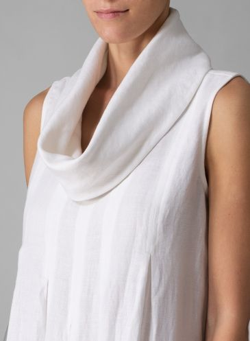 Linen Cowl Neck Dress White, collar and pleat detail