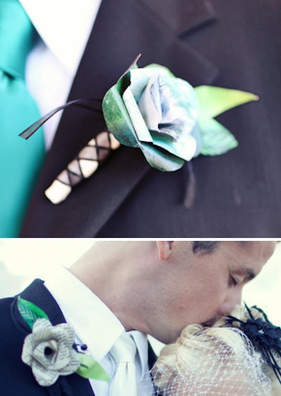 Paper flower boutineer. Can be any of the wedding colors!!