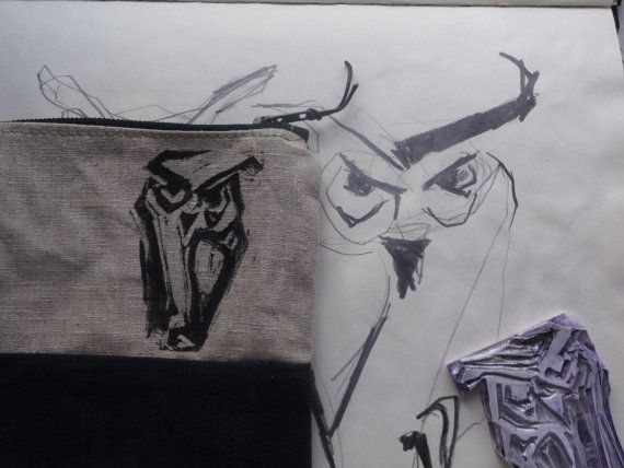 Owl Canvas Pouch With Waxed Canvas Bottom by koatye1 on Etsy