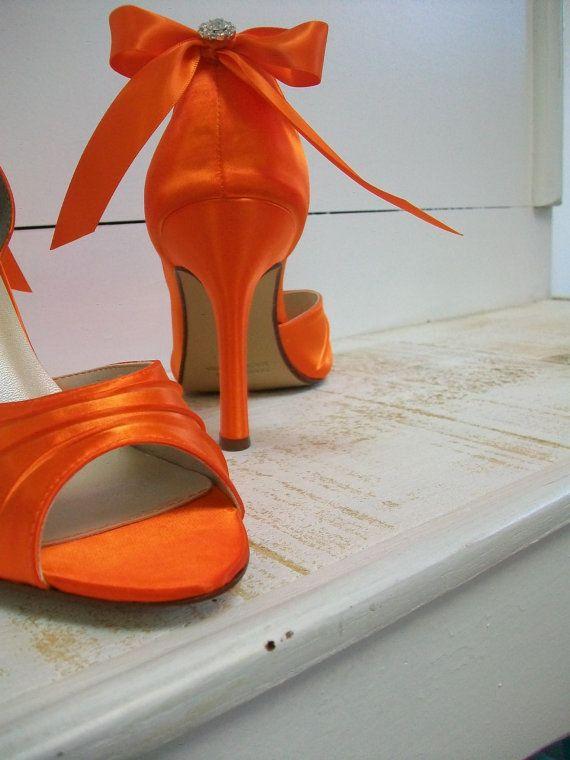 Wedding Shoes 3.5 Over 100 Colors  Orange Shoes Wedding Bride  Rhinestone Crystal Peep Toe Heels Ribbon Bow. $144.00, via Etsy.