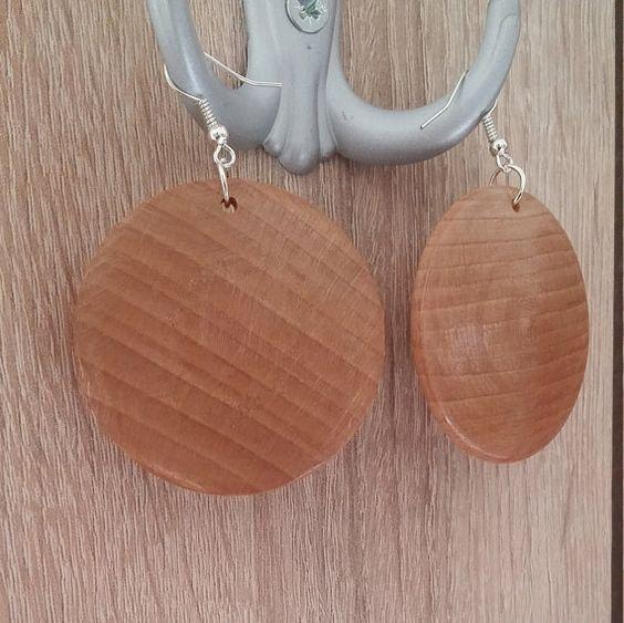 """Handmade Wooden Cluster Earrings """" Disc """" by KesisArtGR on Etsy"""