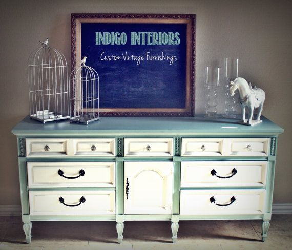 Best Blue And White Vintage Triple Dresser Buffet Changing 400 x 300