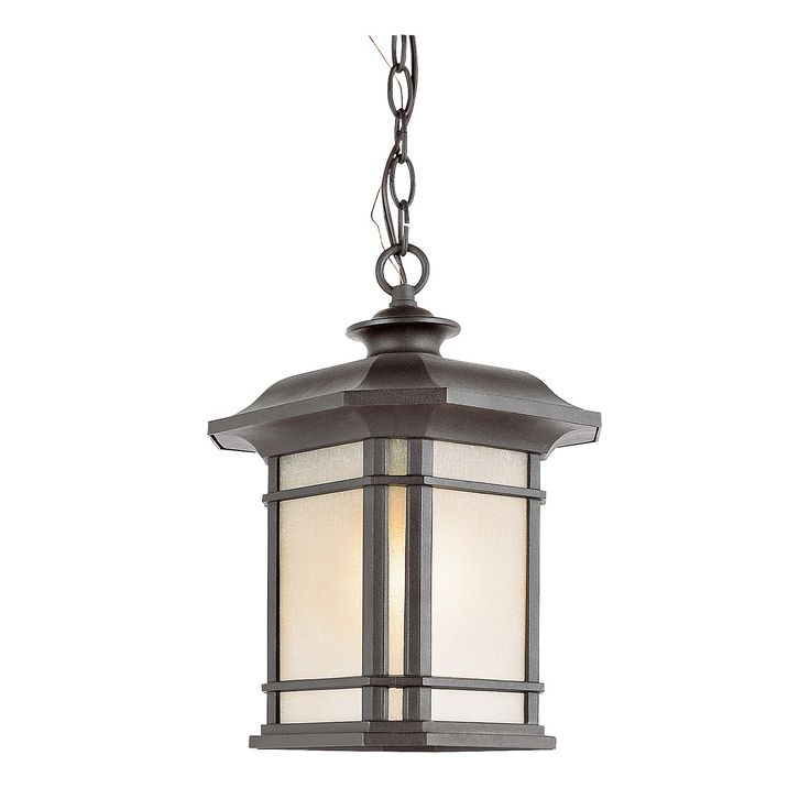"Light up your home's entryway with the Southwestern 18"" Outdoor Pendant in Black. Its frosted glass, clean lines and classic details will surely get a second look from your guests. This outdoor pendant is made of strong, weather-resistant and rust-resistant aluminum and powder-coated for a lasting finish. This light holds 3 incandescent light bulbs with a 60-watt maximum each."