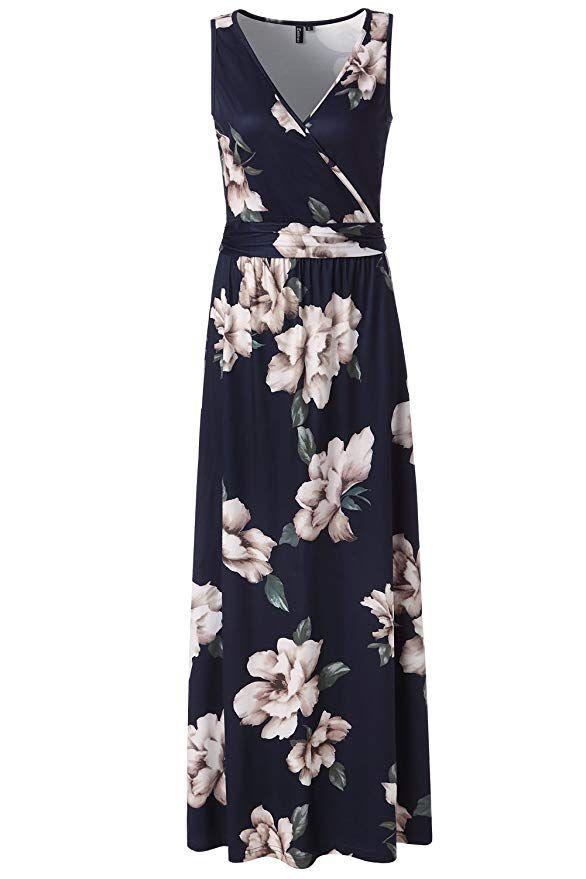 80337b5a303b Zattcas Womens V Neck Sleeveless Maxi Dress Casual Empire Floral Maxi Dress  (Medium, Navy