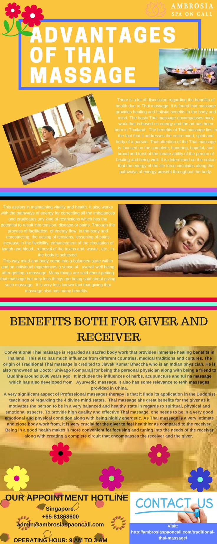 Ambrosia Spa on call provides you the best traditional Thai massage in Singapore at affordable costs. We provide other services like: Spa massage Singapore Home massage service Singapore Back therapeutic massage For more details please contact us: +65-81868600 Book your appointment now at: http://ambrosiaspaoncall.com/booked-appointments/
