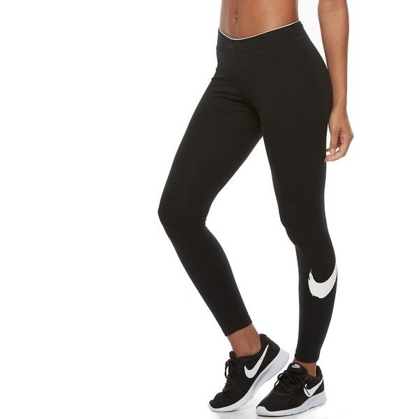 99ddaed2693deb Women's Nike Sportswear Club Swoosh Leggings ($32) ❤ liked on Polyvore  featuring pants, leggings, grey, stretchy pants, nike trousers, stretch  leggings, ...