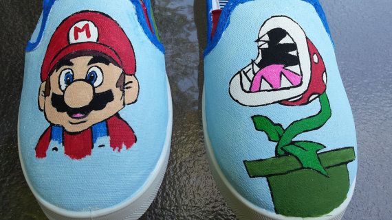 Super Mario Fan Art Tribute Hand Painted Canvas Shoes by fcwhimsey