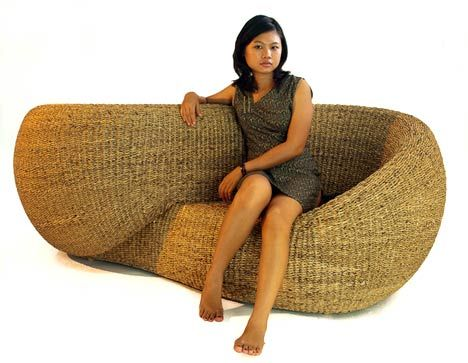 Water Hyacinth, Rattan, and LED Lighting: The Bulb Chair from Onyx : TreeHugger