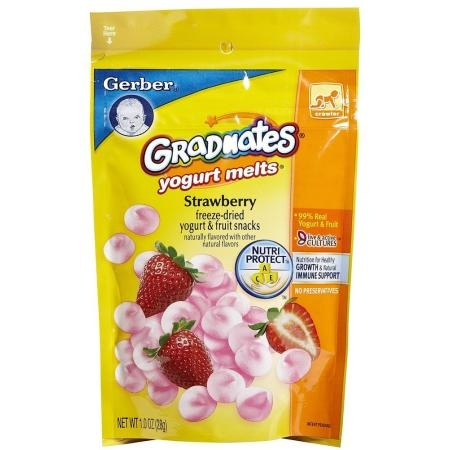 Gerber Graduates Yogurt Melts - Strawberry surprisingly Very Good Not gonna lie!! What can I say work @ Daycare & love trying different foods that the babies like!!
