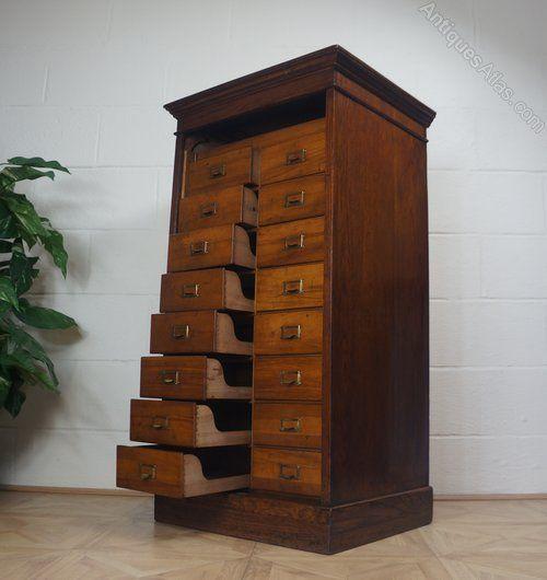Victorian Oak Collectors Filing Cabinet - Antiques Atlas