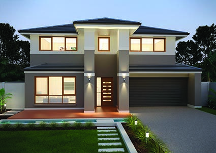 Madison 35 || Double storey home design features five bedrooms, four with walk in robes and four spacious living rooms