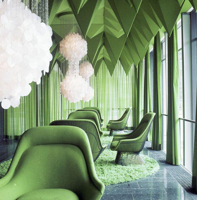 green interior design. Verner Panton Interiors  Restaurant Varna Spiegel Verlagshaus 65 best Retail Branding Environments images on Pinterest Metro