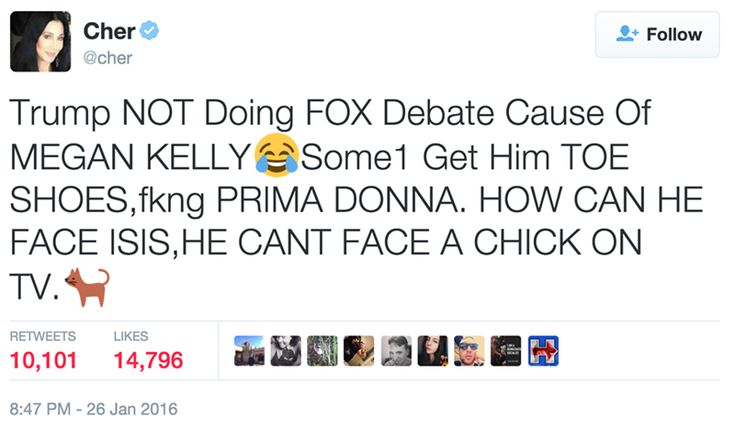 Cher Slayed Trump Over Pulling Out of GOP Debates on Fox