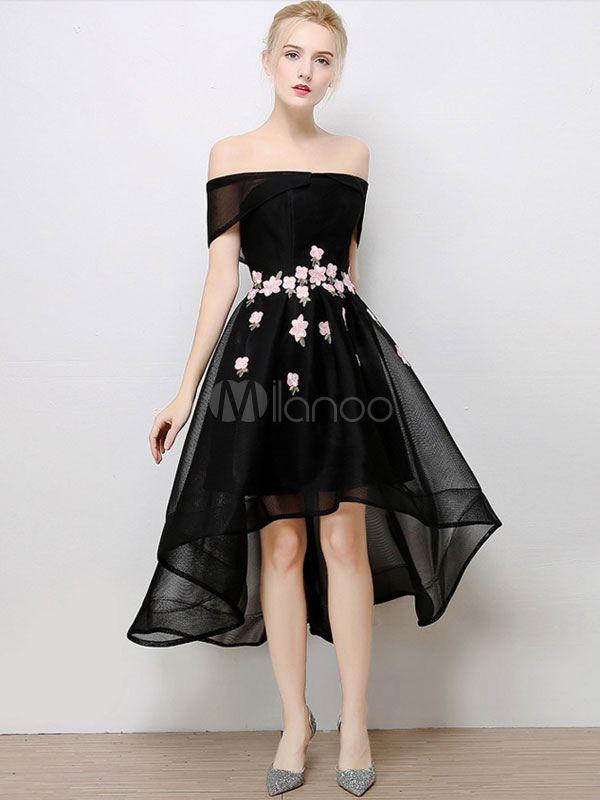 Short Prom Dress Black High Low Cocktail Dress Off The Shoulder