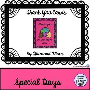 This is a set of cards that can be used for a variety of occasions and for special people. Parent volunteers or educational assistants, teachers, friends, just to mention a few.There are 8 different styles.