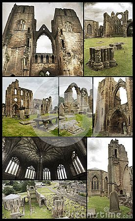 Several views, on grunge background,  of Elgin Cathedral in Elgin, Moray, north-east Scotland. That historic ruin became a visitor attraction in the early 1800s. Dedicated to the Holy Trinity, established in 1224 on land granted by King Alexander II outside the burgh of Elgin, it was the principal church of the bishops of Moray. After the Protestant Reformation of 1560, it lost its roof, and its central tower fell later.