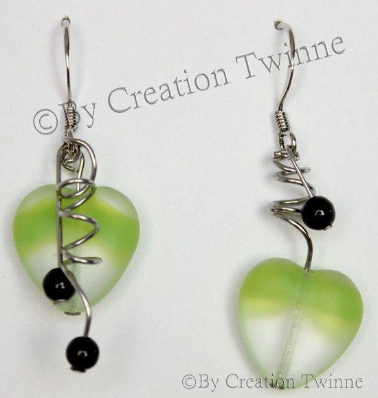funky mint green heart earrings green black by creationtwinne, $22.50