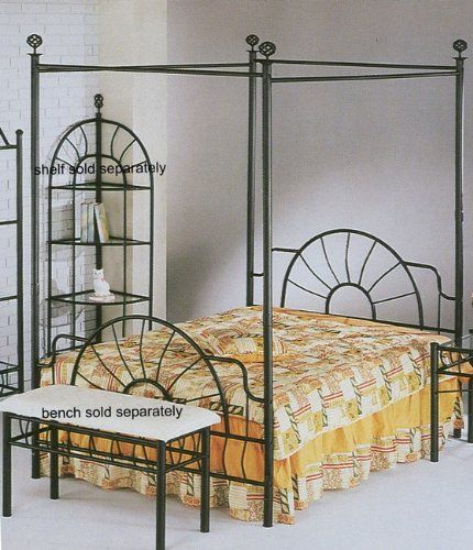 """http://homeforfuture.com/pinnable-post/black-sunburst-design-queen-size-canopy-bed-headboard-footboard-canopy This is a beautiful wrought iron """"Sunburst"""" design queen canopy bed. This bed includes the headboard, footboard, canopy posts, canopy rails, and canopy finials. It does not include a matress or bed rails. Brand new! Light assembly required."""