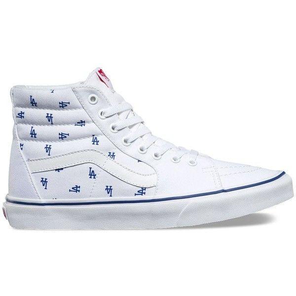 Vans MLB SK8-Hi ($75) ❤ liked on Polyvore featuring men's fashion, men's shoes, men's sneakers, white, mens lace up shoes, mens cap toe shoes, mens white sneakers, mens white high top sneakers and vans mens shoes