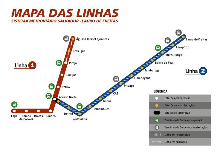 O sistema de #metrô de #Salvador e Lauro de Freitas está localizado no #Brasil, especificamente na cidade de Salvador. Atualmente, possui 11,9 km de comprimento, uma linha e 8 estações. É operado pela Companhia de Transportes da Bahia. Este sistema de metrô levou 14 anos para ser inaugurado.