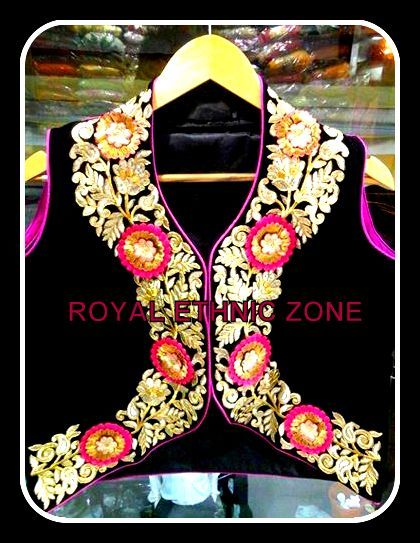 STYLE NO. REZ 223 BLUE AND BLACK JACKET  FOR ANARKALI & SUIT PRICE- 6000/- FABRIC- VELVET EMBROIDERY- THREAD WORK