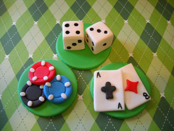 Casino Cupcake Toppers  Edible Fondant Toppers  by SugarArtByTami, $15.95