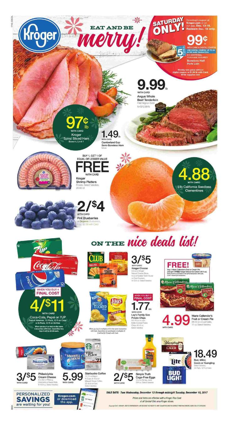 Kroger Weekly Ad December 13 – 19, 2017 – Grocery, Kroger Weekly Ad Kroger Ad weekly circular comes around almost obtain but quite often people see the Grocery, Kroger Weekly Ad Kroger Ad ad plus they are quick to throw it out. Checking the ads almost every week and clipping out the coupons that can come within the weekly ad circulars can often be a very rewarding experience. Grocery, Kroger Weekly Ad Kroger Ad regularly includes coupons which can equate his almos