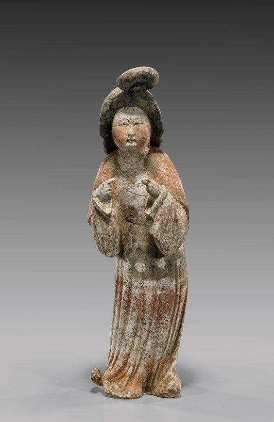 "Superbly modeled, Chinese Tang Dynasty painted pottery figure of a corpulent court beauty: with upswept hair, finely painted face and in draped robes, with hands gesturing; much original pigments remaining; H: 15 1/2""; with Oxford TL Test certificate #C207a74"