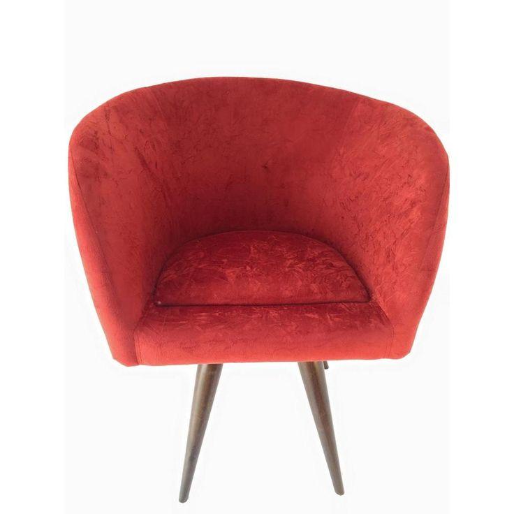 Poltrona Afrodite Pé Palito Dm Interiores Vermelho Único -Móveis e Decoração - Poltronas - Walmart.com